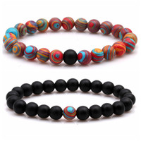 2pcs / set main 8 mm Scrub mat malachite perles bracelets bracelet couple uniques pour les femmes et les hommes FRIENSHIP bracelet