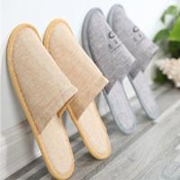 Verdicken Einweg Hausschuhe Baumwolle Leinen Startseite Gast Offene spitze Schuhe Atmungsaktiv Weich Hotel Anti-slip Einweg Hausschuhe