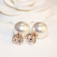 Luxus-Designer-Schmuck Frauen Ohrringe Perle Diamant-Ohr Roségold elegante High-End-Retro asymmetrischen Bolzenbandohrringe Modeschmuck