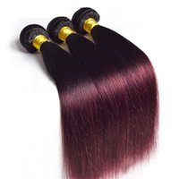 Brazilian 1B 99J Ombre Straight Human Hair Extensions 3 Piec...