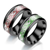 Re Dragon Dragon Steel anelli in acciaio al tungsteno 8mm verde in fibra di carbonio in fibra di carbonio nero anello in metallo duro celtico per uomo comodit fit wedding band