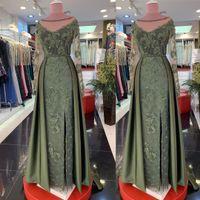 2019 Árabe Luxo Mãe Mãe de Noiva Vestidos Pedidos Pescoço Pérolas Frisadas Mãe de Vestidos Do Noivo Vintage Formal Party Noite Vestidos ZJ429