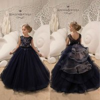 Custom Made Flower Girl Dresses Jewel Neck Lace Beaded Puffy...