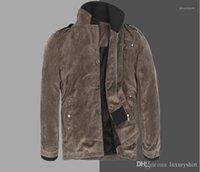 Jackets Sólidos Painéis Zipper Fly Windrunner Fique Collar Manga comprida de algodão Jacket Mens Vestuário Mens Inverno Carga
