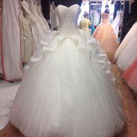 Aktuelles Bild White Quinceanera Kleider Vestidos de 15 Anos Pearls Tüll Spitze Sweet 16 Dress Günstige Prom Ballkleider Korsett Custom Made