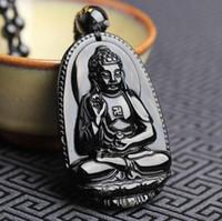 Unisex preto Obsidian Colar frisada Com Chinese Buddha Pendant Voclano Pedra Beads Colar China Colar Pingente budista do budismo