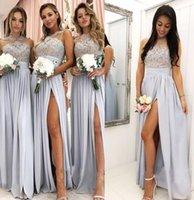 En linje 2020 brudtärna klänningar Maid of Honor Chiffon Backless Vintage Evening Dress Long Party Prom Crow