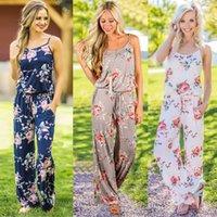 Kadınlar Çiçek baskı Tulum şerit Romper kolsuz Plaj Tulum Boho yaz tulumlar uzun sling pantolon pantolon jartiyer 2019 C4230