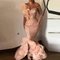 Allık Pembe 2020 Boncuklu Mermaid Gelinlik Modelleri Dantel Aplike Bir Omuz Abiye Giyim Plus Size Biçimsel Parti Yarışması Giyim