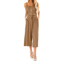 Summer Jumpsuits Women Street Long Pants Spaghetti Strap Loo...