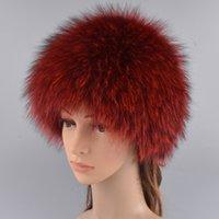 Mujeres sombreros de piel de zorro real de invierno elástico de lujo casquillos de piel de punto forrado Genuino Mapache Gorros de piel de zorro ruso Bomber sombreros