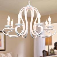 Nordic American Coutry Style Современная свеча Люстра Светильники Vintage белый / черный кованого железа Home Lighting E14