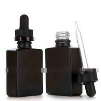 متجمد مربع العنبر الزجاج زجاجة 30ML زجاجة قطارة الزجاج ماتي مع غطاء واضح أسود للزيت عالي الجودة