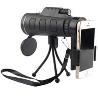 HD 40 * 60 Monoküler tripod ile Yüksek güçlü cep telefonu teleskop Cep telefonu klip seti