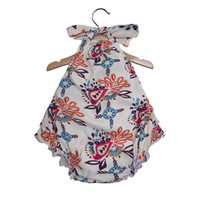 Baby girls Sling Hanging neck Romper Newborn infant arrow Fl...
