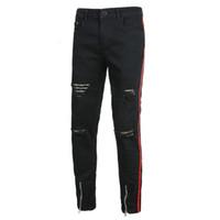 Moda Mens Cool Zipper Preto Jeans Skinny Rasgado Destruído Estiramento Slim Fit Hop Hop Calças com Buracos para Homens