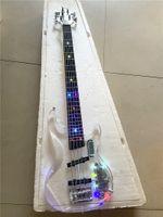 Alta calidad versión personalizada de 5 cuerdas de acrílico cristal de plexiglás transparente bajo eléctrico de la guitarra del color del LED que destella, envío libre