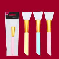 Gel de silice Masque Maquillage Pinceau Tête Douce Cosmétique Brosses Diy Membrane Tiges Portable Jaune Couleur Bleu 1 2yz J1