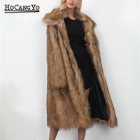 HCYO más el tamaño de las mujeres de largo abrigo suelto casual piel de imitación de las mujeres de largo abrigos y chaquetas de piel de abrigos gruesos calientes femeninos Outwear chaquetas
