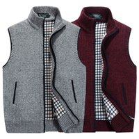 Lana Otoño Invierno hombre del chaleco del suéter caliente grueso sin mangas ocasional chaquetas de punto Sweatercoat Cashmere masculino paño grueso y suave del chaleco