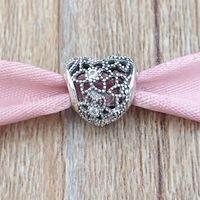 Otantik 925 Ayar Gümüş Boncuk Blooming Kalp Charm, Clear CZ Charms Avrupa Pandora Stil Takı Bilezikler Kolye Uyar 796264CZ