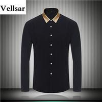 4f8fa76a21b Vellsar 2017 мода мужская дизайнерская одежда плюс размер золотой цвет  воротник черный белый Мужские рубашки с