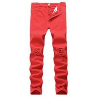 Мужские джинсы High Street Разрушенный Мужские джинсы Hip Hop Сплошной цвет рваные джинсы брюки карандаш Новые