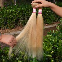 Cheap miele Blonde russo estensioni dei capelli vergini Veri capelli russi # 613 biondo platino vergine 100% capelli umani remy dritto 4 fasci