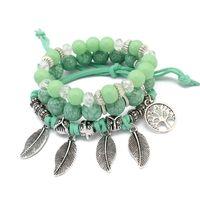 Arbre de vie Bracelets feuilles Pendentifs Charms Jewlery pour bohémienne perles de verre Bracelet Vintage Femmes Multilayer Brins Bijoux enveloppants en cuir