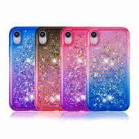 Luxury Diamond Quicksand Casos líquidos para iPhone XR XS Max Bling Glitter a prueba de golpes Tapa de espalda dura Foriphone x 8 7 6s Plus