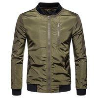 Sonbahar erkek Katı Renk Tasarımcı Ceket Erkek Yuvarlak Boyun Mont Bombacı Ceket Erkek Marka Giyim Dış Giyim Artı Boyutu