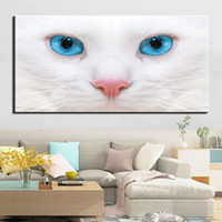 Canvas Painting Picture Animal White Cat Poster Living Room ...