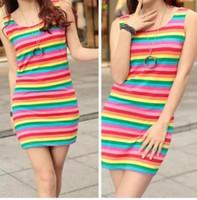 20188 2018 Moda de otoño Rainbow Vestido con tanque de rayas O-cuello Sin mangas Casual Vestidos largos Lady Elegant Slim Dress Plus Size Talever