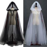 Donne Bianco Nero Tulle Mantello Halloween Cosplay Party Con cappuccio Strega Matrimonio Matrimonio Capo Lungo Spedizione veloce