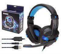 Soyto sy860mv comprimento ajustável 3.5mm usb surround estéreo para ps4 xbox one gaming fone de ouvido headband fone de ouvido led 10 PÇS / LOTE