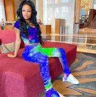 2020 Femmes Tie Dye Survêtement D'été Pantalon Leggings Et À Manches Courtes T Shirt Crop Tee Tops deux pièces tenue Clubwear Sportswear tissu D42108