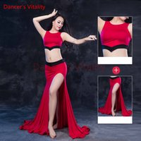 Dançarina Vitalidade Dança Do Ventre Traje Em Torno Do Pescoço Harness Top Lace Right Saia Aberta Dança Do Ventre Vestido Para Traje