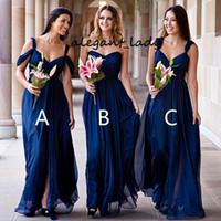 Chiffon Royal Blue Body Party Dama de honor vestidos de dama de honor barato plisado formal largo desajustado diferentes estilos Junior Maid of Honor Vestido