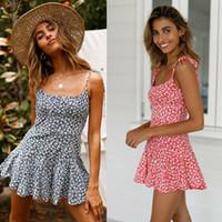 Mulheres férias Mini Playsuit Jumpsuit macacãozinho Praia Verão Vestido Casual Shorts