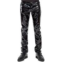 Plus Size Männer Sexy Schwarz Wetlook Kunstleder Dessous Exotische Pu Latex Catsuit Reißverschluss Pvc Bühne Clubwear Homosexuell Fetisch Hosen C19031601