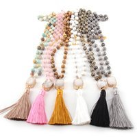 Fashion Bohemian Jewelry Stone Rosary Chain Square  Oval Druzy Link Long Tassel Necklaces Women Ethnic Necklace