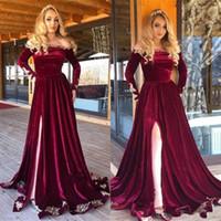 Bordo Kadife Afrika Abiye giyim Uzun Kollu Örgün Dubai Arapça Yüksek Yan Bölünmüş Balo Parti Elbise Özel Robe de Mariée