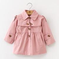 Niño del nuevo bebé niñas otoño Moda solapa de la chaqueta rompevientos Escudo de vestir exteriores 3 colores de la niña de ropa