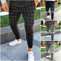 Горячие мужские спортивные штаны Длинные Plaid Tracksuit Тощий Elastic Fit тренировки бегуны Повседневный Sweatpants Мужской Повседневный брюки M-3XL