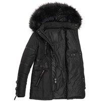 Women's Down Parkas Winter Femmes Manteau et veste avec hotte de fourrure Parka Noir Mesdames épais de survêtement chaud de la fermeture à glissière à glissière