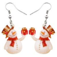 Baumeln Kronleuchter Acryl Weihnachtsgeschenk Schneemann Ohrringe Drop Weihnachten Ornamente Dekoration Schmuck für Frauen Mädchen Navidad Zubehör