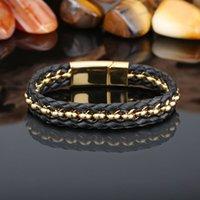 13MM Raffreddare pelle nera lavorata a maglia braccialetto chiusura chiusura magnetica in acciaio inox Oro Argento Mens braccialetti dei braccialetti per le donne unisex gioielli Gi