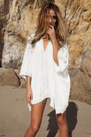 Womens Hollow Out Beach V-Neck vestito di bagno di nuotata Bikini Swimsuit Swimwear oversize Cover Up abiti tunica