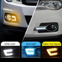 2PCS لفولكس واجن فولكس فاجن تيجوان 2010 2011 2012 LED DRL النهار الجري الخفيف النهار القيادة مصابيح الإشارة الصفراء