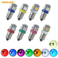 Feeldo 40 sztuk Samochód 6V / 12V / 24 V 8-Color Auto E10 5050SMD 5-LED High Power Dashboard LED Żarówka Light Light # 6145